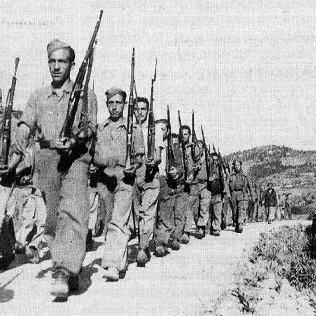 Soldados nacionales en la guerra civil española.