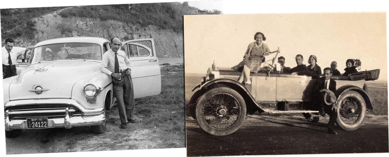 Juan Pujol con coches y amigos